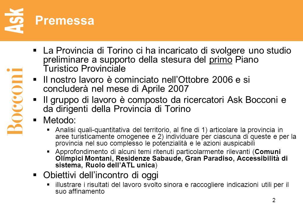 2 Premessa La Provincia di Torino ci ha incaricato di svolgere uno studio preliminare a supporto della stesura del primo Piano Turistico Provinciale I