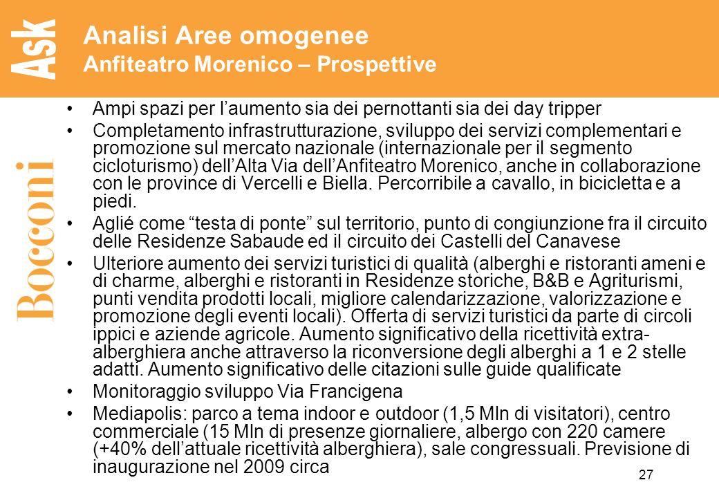27 Analisi Aree omogenee Anfiteatro Morenico – Prospettive Ampi spazi per laumento sia dei pernottanti sia dei day tripper Completamento infrastruttur