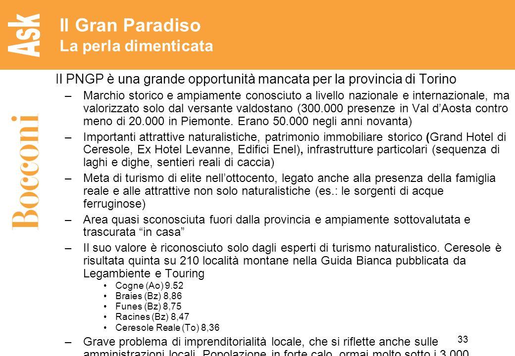 33 Il Gran Paradiso La perla dimenticata Il PNGP è una grande opportunità mancata per la provincia di Torino –Marchio storico e ampiamente conosciuto a livello nazionale e internazionale, ma valorizzato solo dal versante valdostano (300.000 presenze in Val dAosta contro meno di 20.000 in Piemonte.