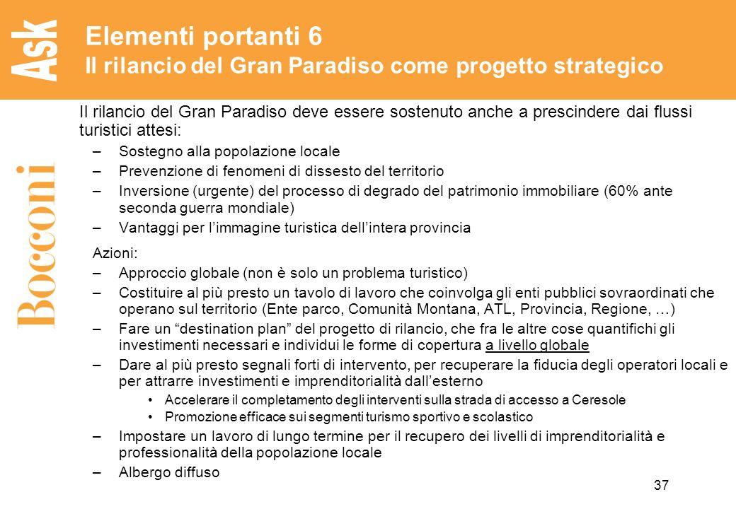 37 Elementi portanti 6 Il rilancio del Gran Paradiso come progetto strategico Il rilancio del Gran Paradiso deve essere sostenuto anche a prescindere