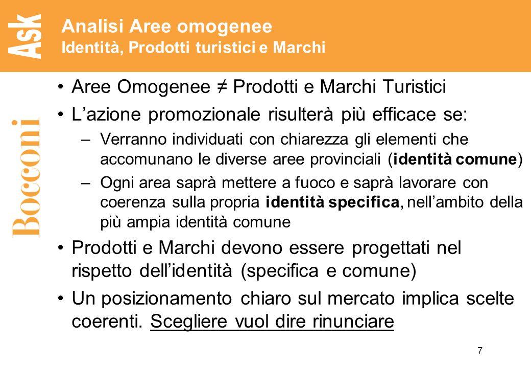 7 Analisi Aree omogenee Identità, Prodotti turistici e Marchi Aree Omogenee Prodotti e Marchi Turistici Lazione promozionale risulterà più efficace se