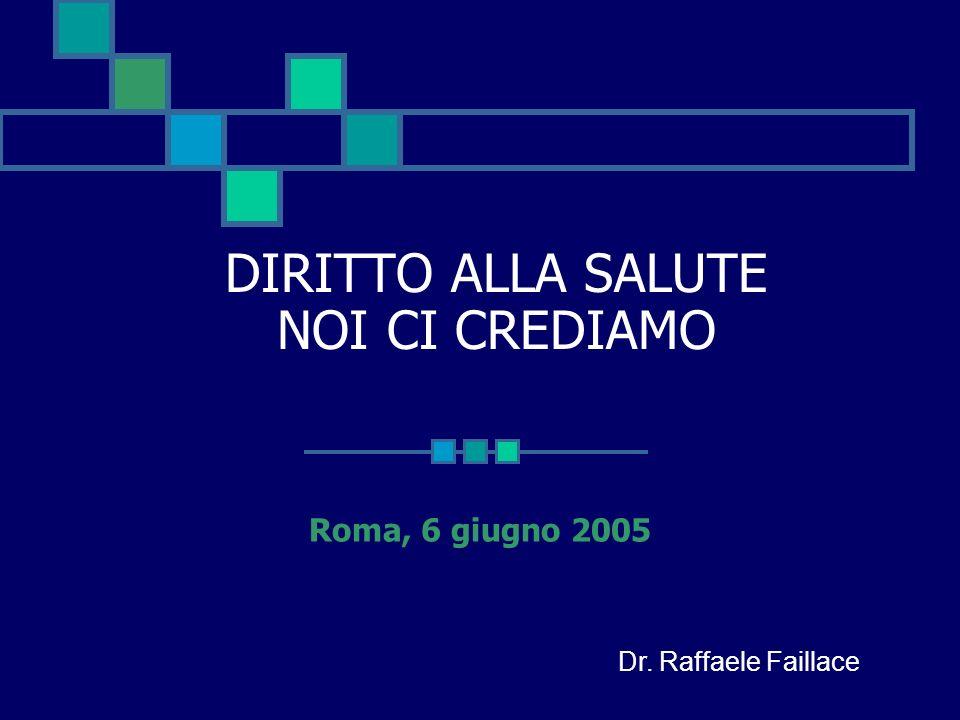 DIRITTO ALLA SALUTE NOI CI CREDIAMO Roma, 6 giugno 2005 Dr. Raffaele Faillace