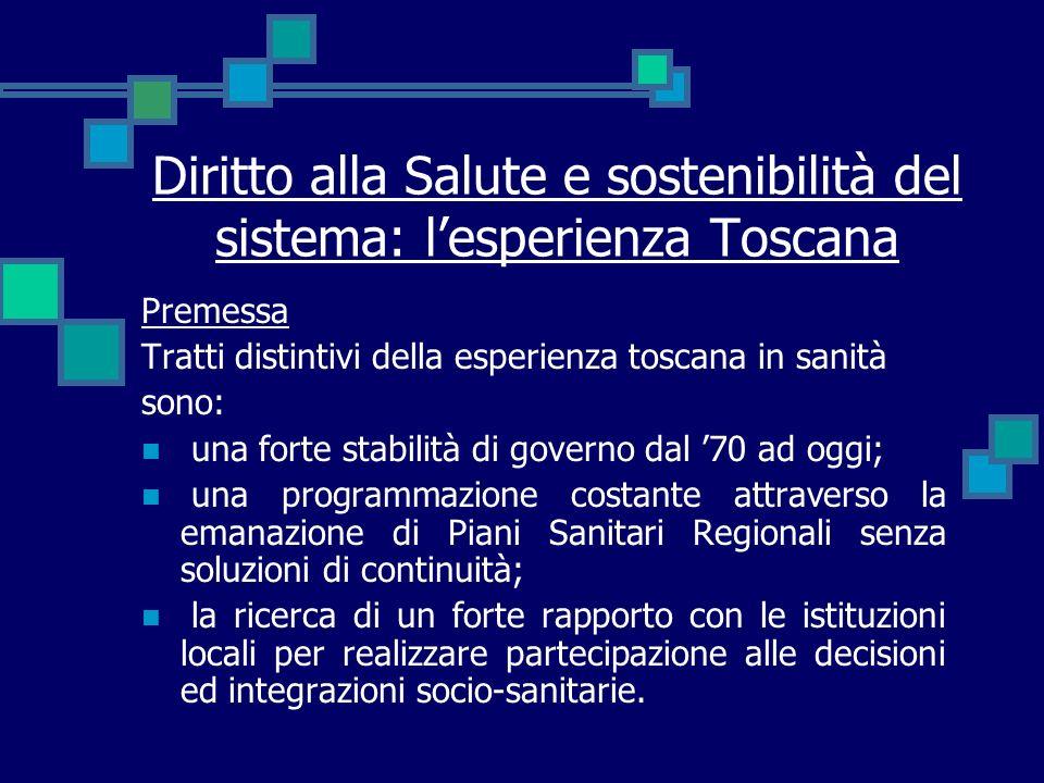 Diritto alla Salute e sostenibilità del sistema: lesperienza Toscana Premessa Tratti distintivi della esperienza toscana in sanità sono: una forte sta