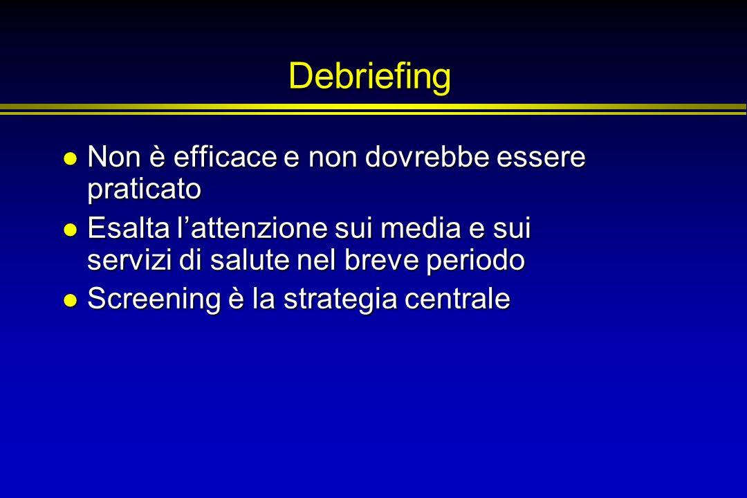 Debriefing Non è efficace e non dovrebbe essere praticato Non è efficace e non dovrebbe essere praticato Esalta lattenzione sui media e sui servizi di