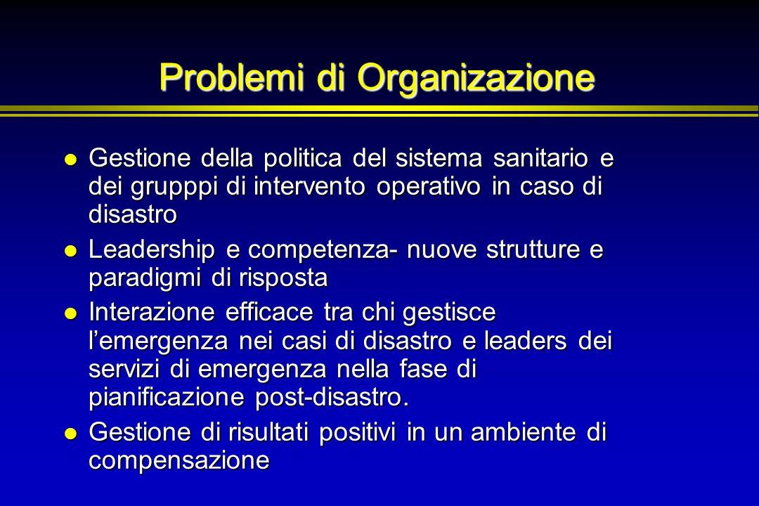 Problemi di Organizazione Gestione della politica del sistema sanitario e dei grupppi di intervento operativo in caso di disastro Gestione della polit