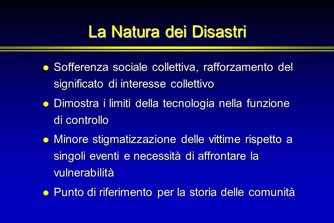La Natura dei Disastri Sofferenza sociale collettiva, rafforzamento del significato di interesse collettivo Sofferenza sociale collettiva, rafforzamen