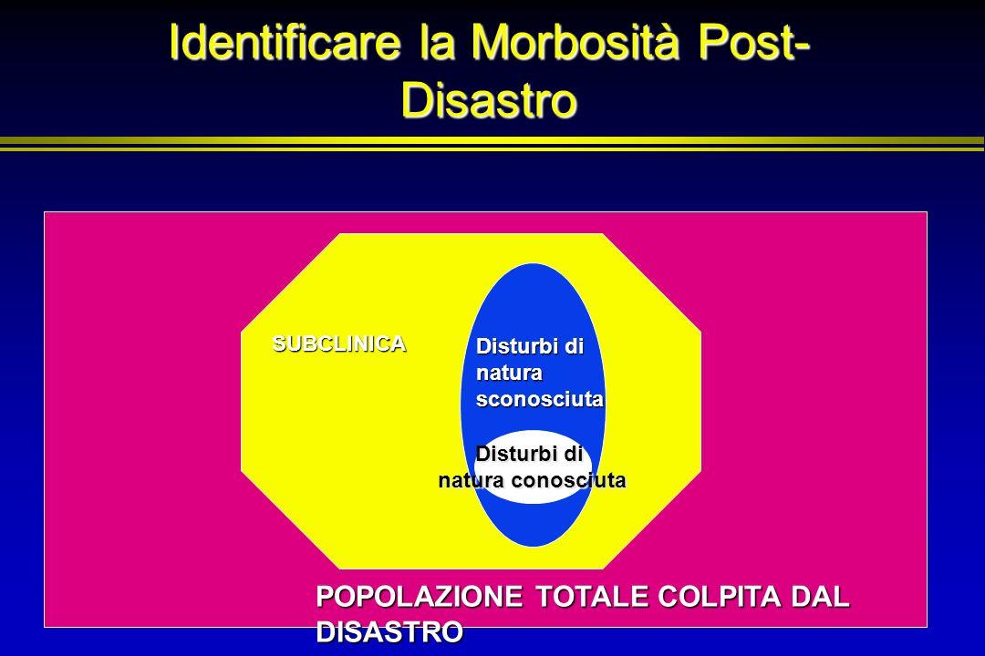 Identificare la Morbosità Post- Disastro Disturbi di natura conosciuta SUBCLINICA Disturbi di natura sconosciuta POPOLAZIONE TOTALE COLPITA DAL DISAST