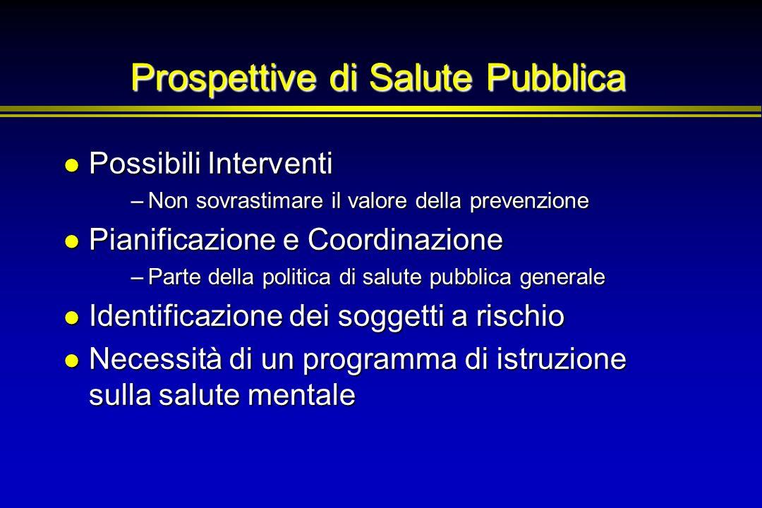 Prospettive di Salute Pubblica Possibili Interventi Possibili Interventi –Non sovrastimare il valore della prevenzione Pianificazione e Coordinazione