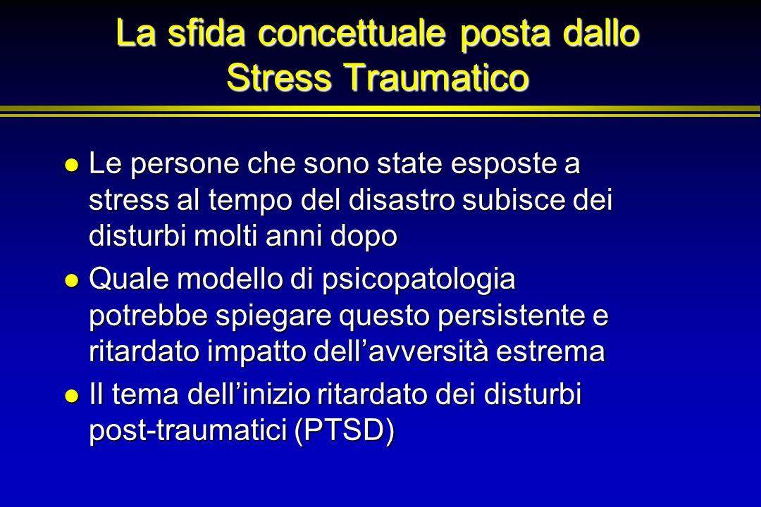 La sfida concettuale posta dallo Stress Traumatico Le persone che sono state esposte a stress al tempo del disastro subisce dei disturbi molti anni do