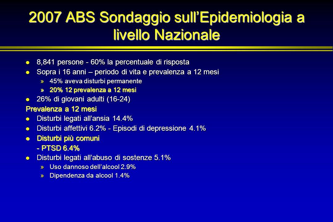 2007 ABS Sondaggio sullEpidemiologia a livello Nazionale 8,841 persone - 60% la percentuale di risposta 8,841 persone - 60% la percentuale di risposta