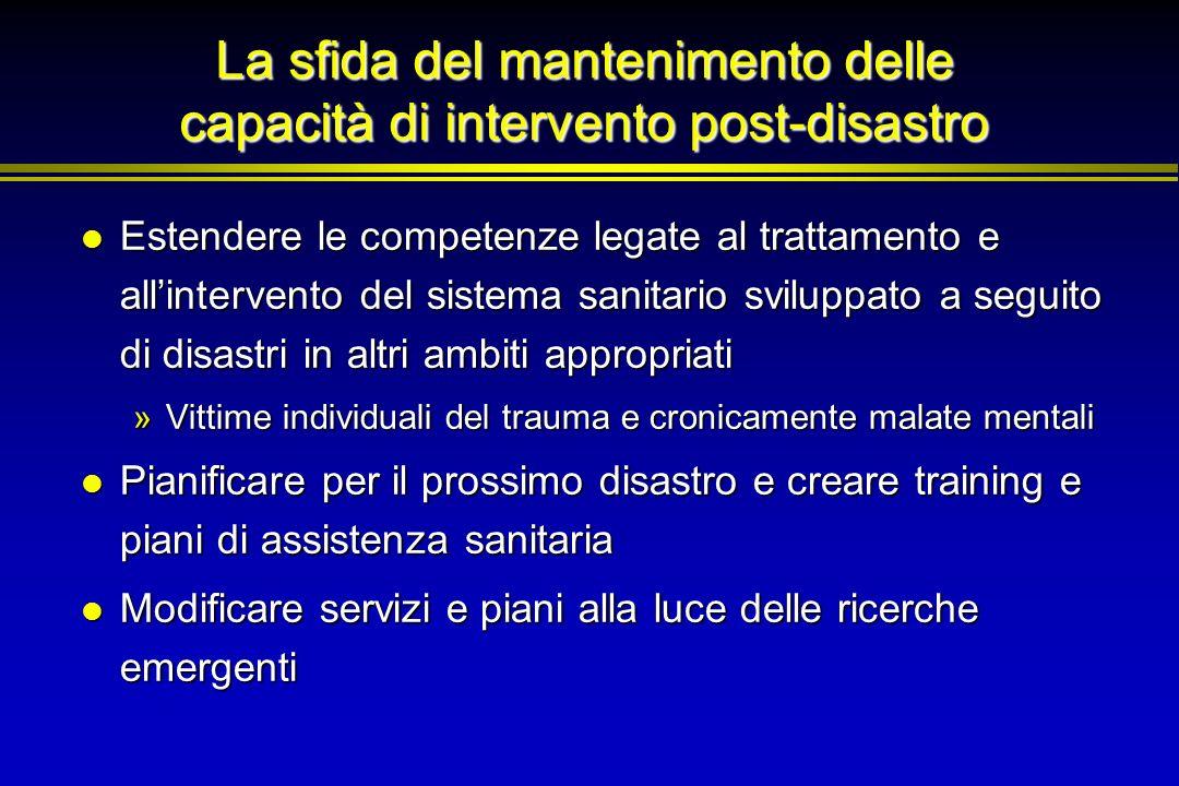 La sfida del mantenimento delle capacità di intervento post-disastro Estendere le competenze legate al trattamento e allintervento del sistema sanitar