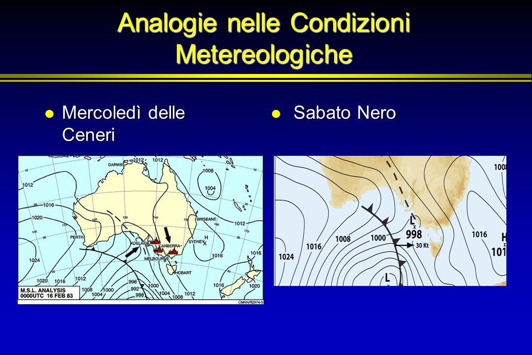 Analogie nelle Condizioni Metereologiche Mercoledì delle Ceneri Mercoledì delle Ceneri Sabato Nero Sabato Nero