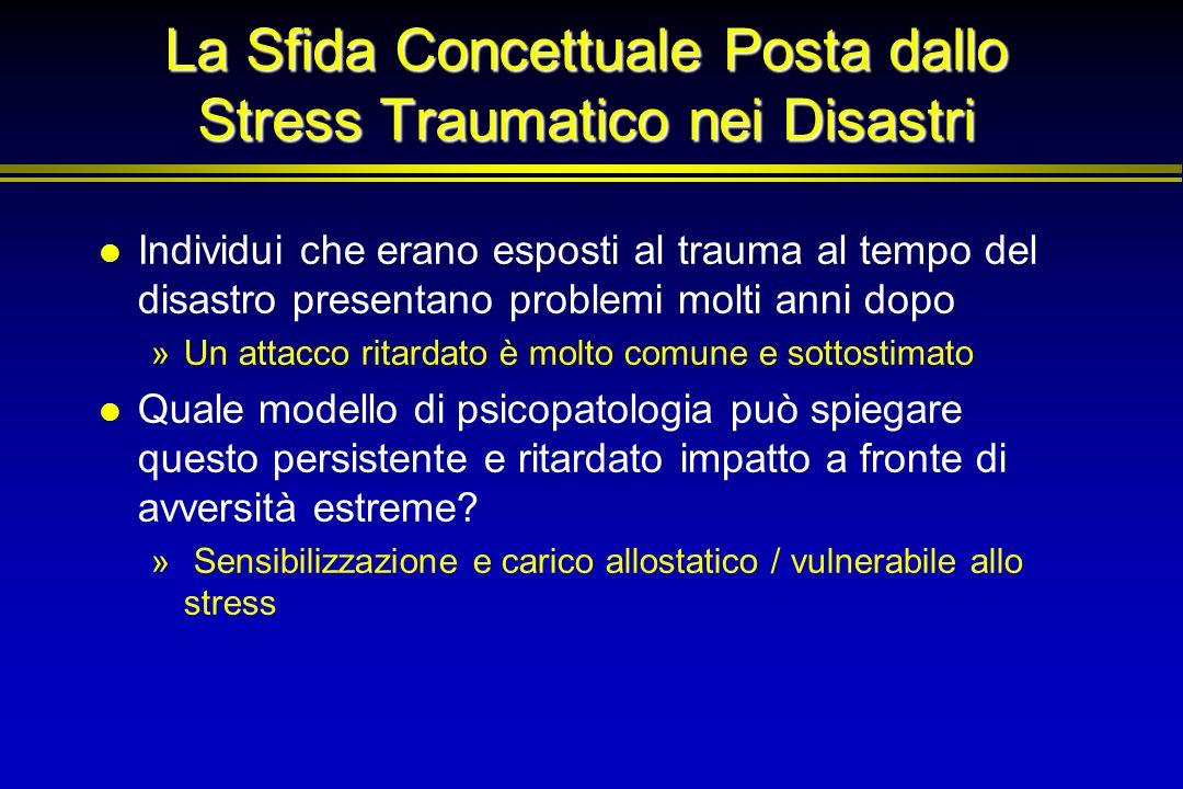 La Sfida Concettuale Posta dallo Stress Traumatico nei Disastri Individui che erano esposti al trauma al tempo del disastro presentano problemi molti
