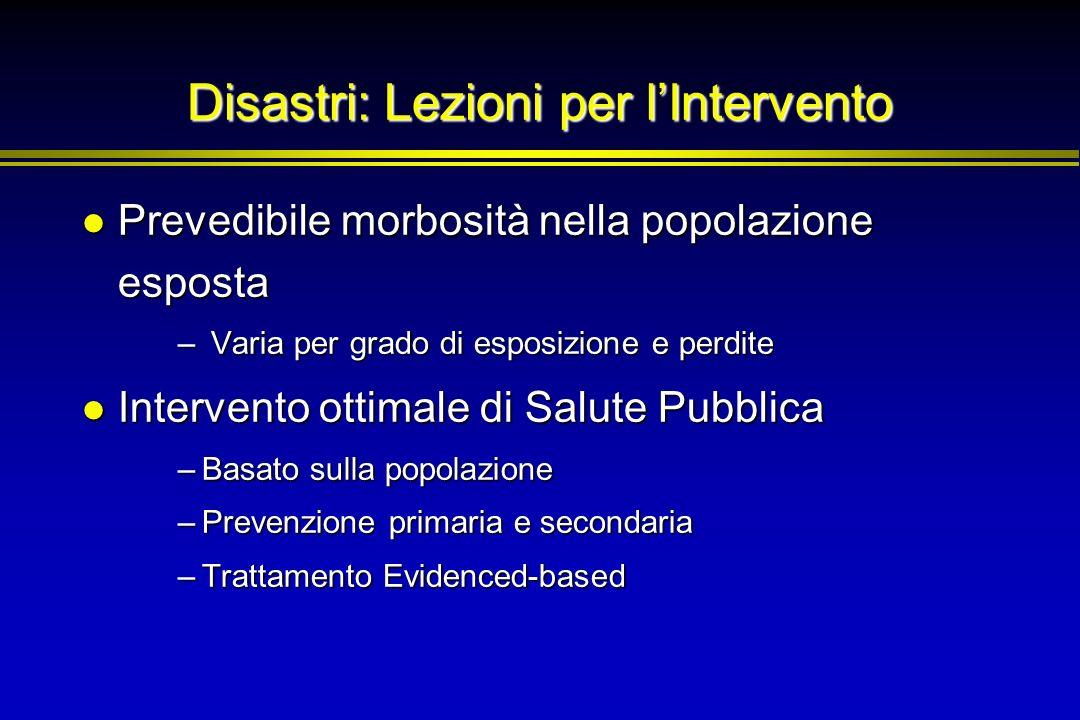 Disastri: Lezioni per lIntervento Prevedibile morbosità nella popolazione esposta Prevedibile morbosità nella popolazione esposta – Varia per grado di