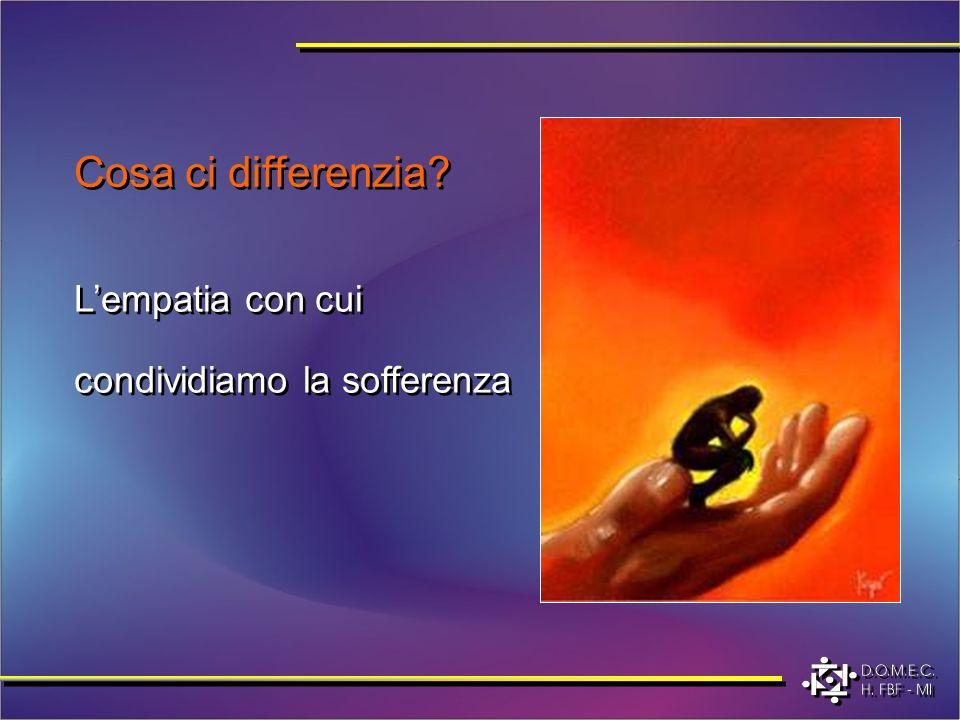 Cosa ci differenzia? Lempatia con cui condividiamo la sofferenza