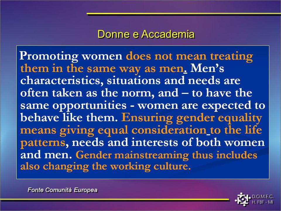 Donne e Accademia Fonte Comunità Europea