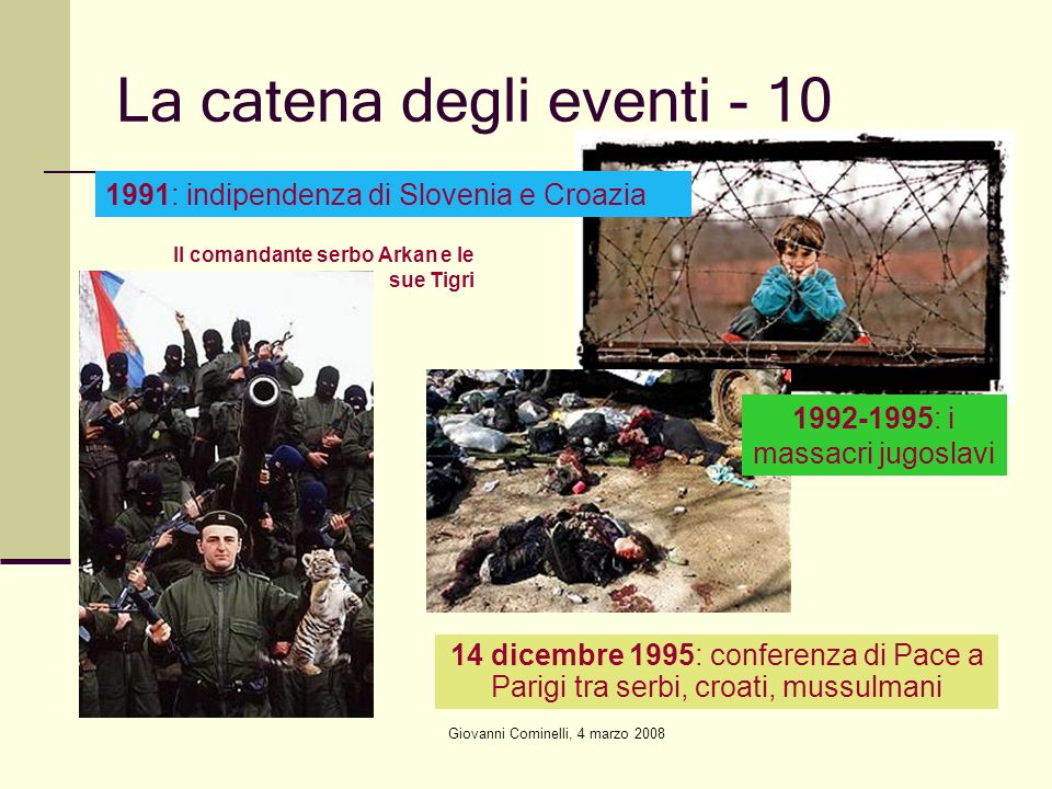 Giovanni Cominelli, 4 marzo 2008 La catena degli eventi - 10 1991: indipendenza di Slovenia e Croazia 14 dicembre 1995: conferenza di Pace a Parigi tra serbi, croati, mussulmani 1992-1995: i massacri jugoslavi Il comandante serbo Arkan e le sue Tigri