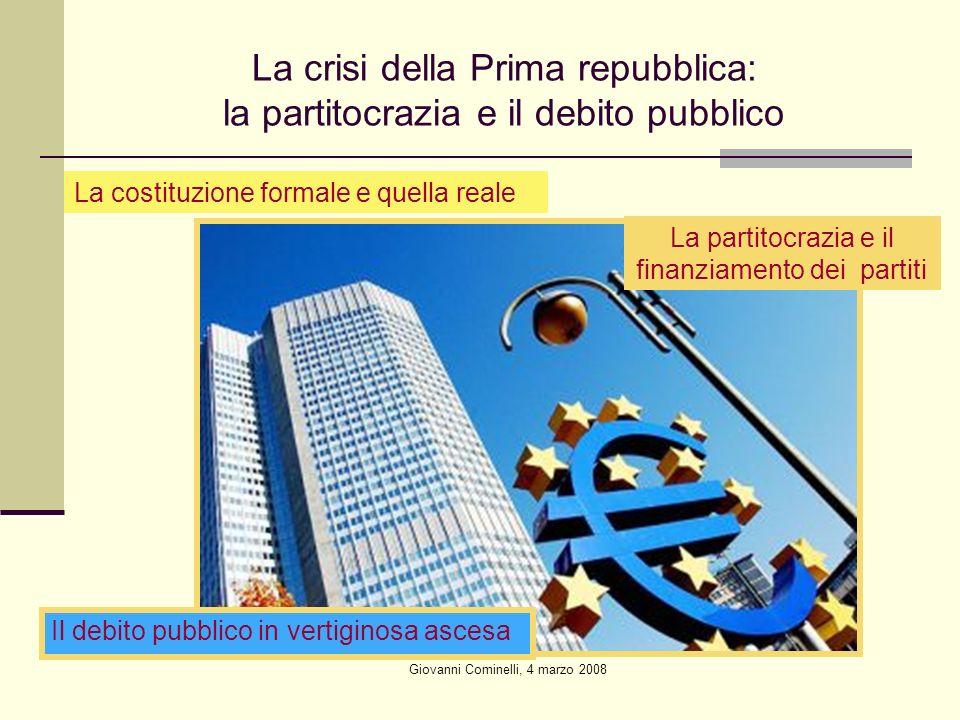 Giovanni Cominelli, 4 marzo 2008 La crisi della Prima repubblica: la partitocrazia e il debito pubblico La costituzione formale e quella reale La partitocrazia e il finanziamento dei partiti Il debito pubblico in vertiginosa ascesa