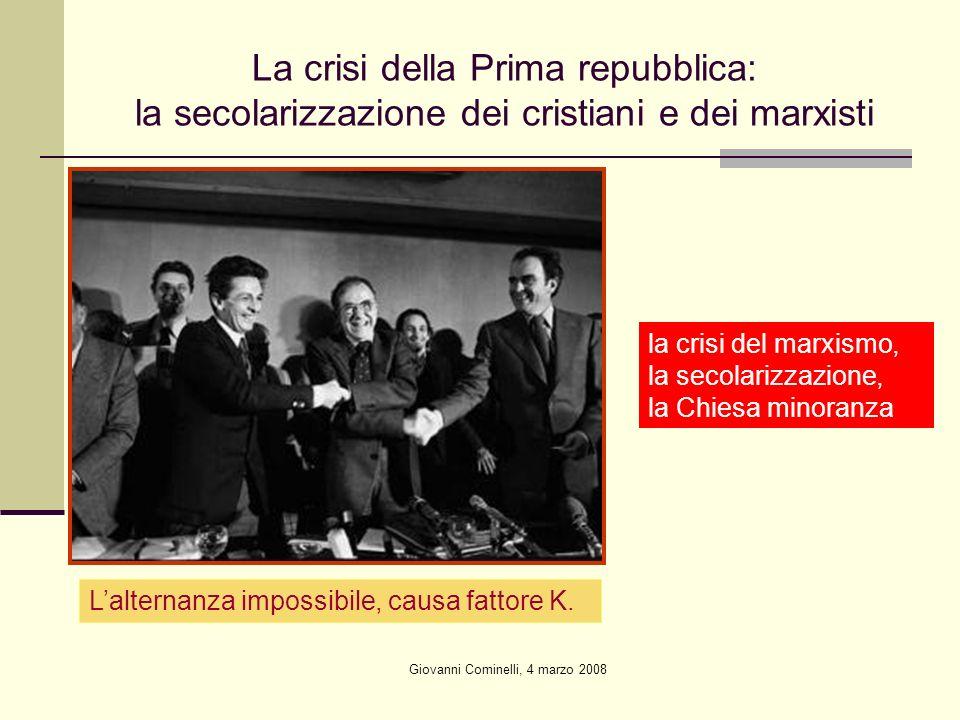 Giovanni Cominelli, 4 marzo 2008 La crisi della Prima repubblica: la secolarizzazione dei cristiani e dei marxisti Lalternanza impossibile, causa fattore K.