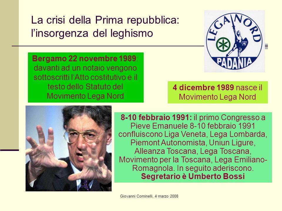 Giovanni Cominelli, 4 marzo 2008 La crisi della Prima repubblica: linsorgenza del leghismo Bergamo 22 novembre 1989: davanti ad un notaio vengono sott