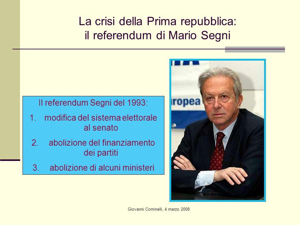 Giovanni Cominelli, 4 marzo 2008 La crisi della Prima repubblica: il referendum di Mario Segni Il referendum Segni del 1993: 1.modifica del sistema elettorale al senato 2.
