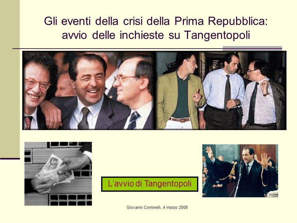 Giovanni Cominelli, 4 marzo 2008 Gli eventi della crisi della Prima Repubblica: avvio delle inchieste su Tangentopoli Lavvio di Tangentopoli