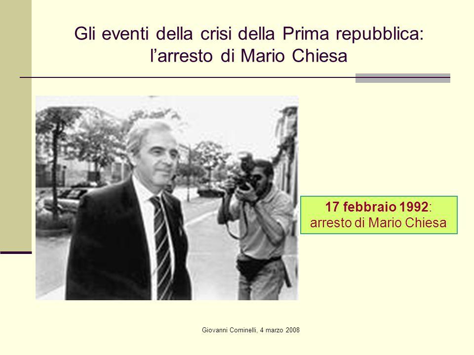 Giovanni Cominelli, 4 marzo 2008 Gli eventi della crisi della Prima repubblica: larresto di Mario Chiesa 17 febbraio 1992: arresto di Mario Chiesa