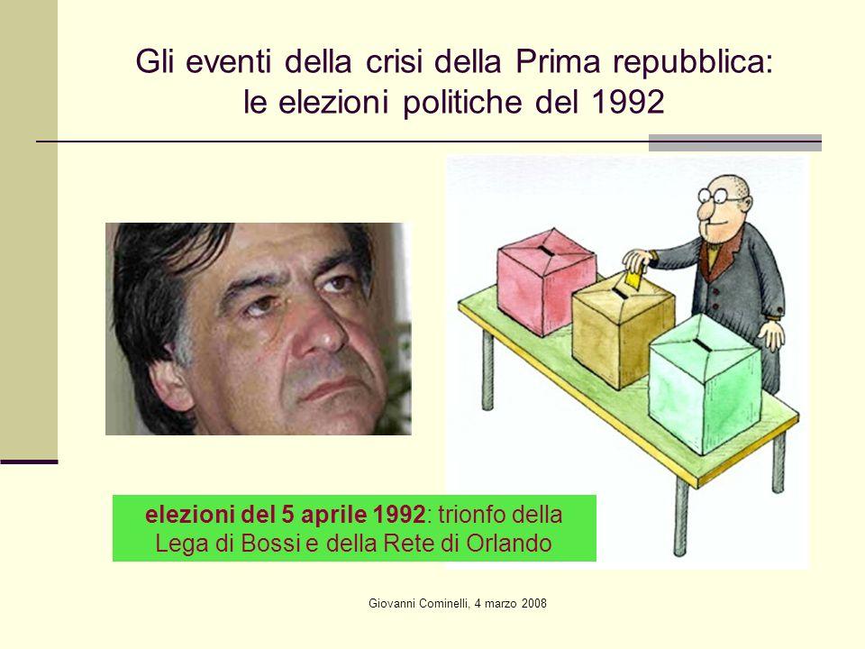 Giovanni Cominelli, 4 marzo 2008 Gli eventi della crisi della Prima repubblica: le elezioni politiche del 1992 elezioni del 5 aprile 1992: trionfo della Lega di Bossi e della Rete di Orlando