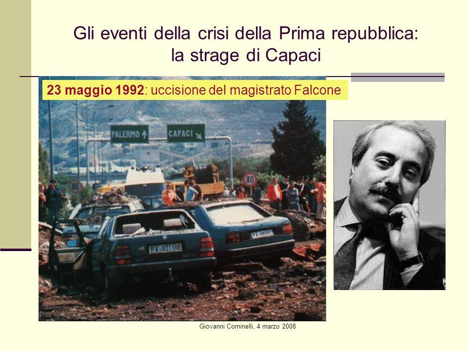 Giovanni Cominelli, 4 marzo 2008 Gli eventi della crisi della Prima repubblica: la strage di Capaci 23 maggio 1992: uccisione del magistrato Falcone