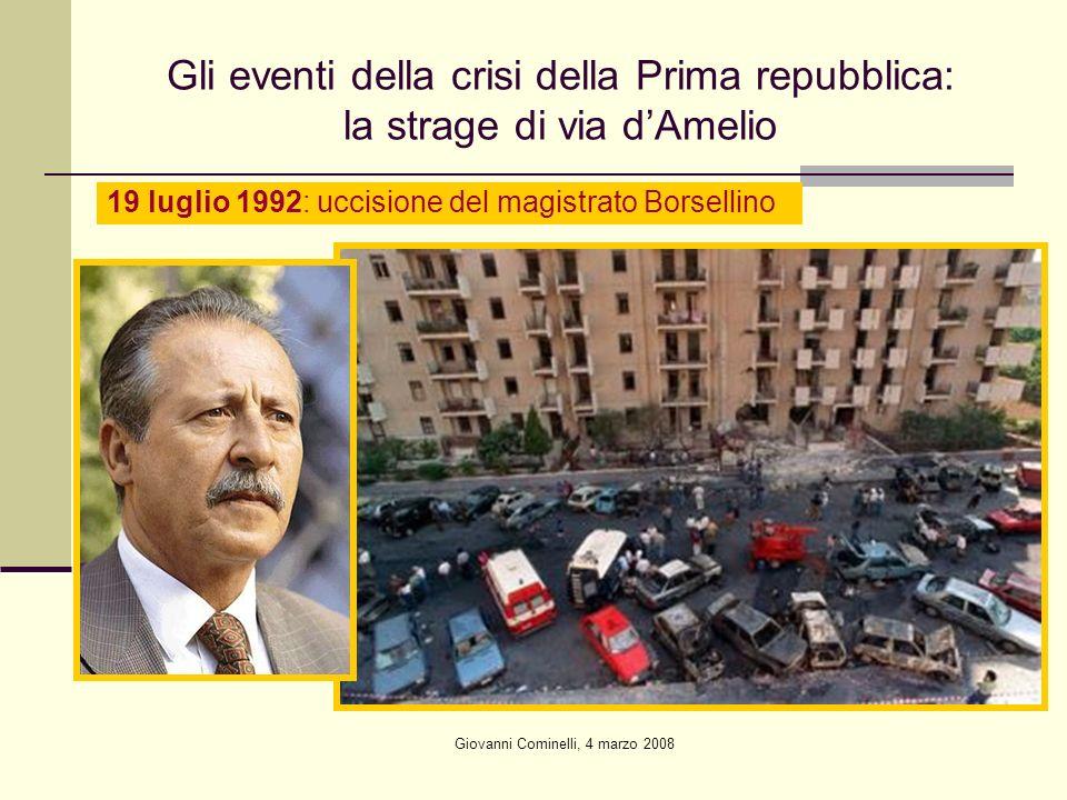 Giovanni Cominelli, 4 marzo 2008 Gli eventi della crisi della Prima repubblica: la strage di via dAmelio 19 luglio 1992: uccisione del magistrato Borsellino