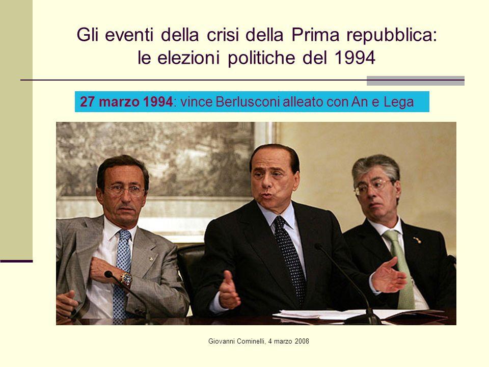 Giovanni Cominelli, 4 marzo 2008 Gli eventi della crisi della Prima repubblica: le elezioni politiche del 1994 27 marzo 1994: vince Berlusconi alleato con An e Lega