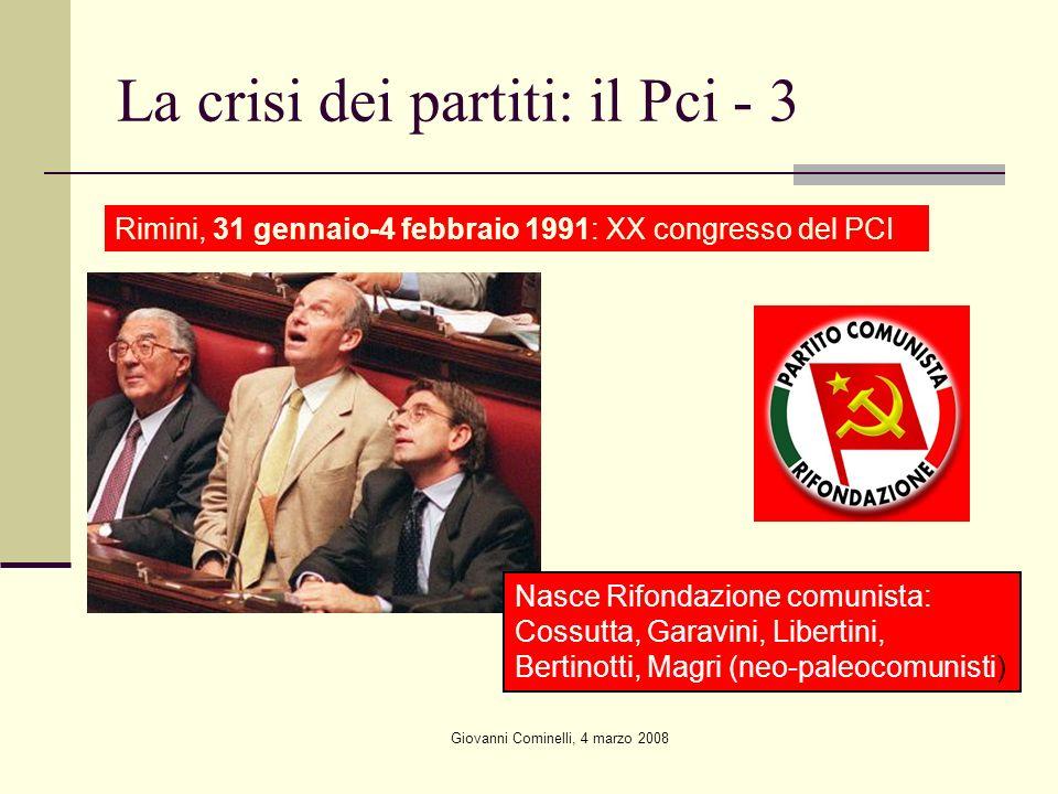 Giovanni Cominelli, 4 marzo 2008 La crisi dei partiti: il Pci - 3 Rimini, 31 gennaio-4 febbraio 1991: XX congresso del PCI Nasce Rifondazione comunista: Cossutta, Garavini, Libertini, Bertinotti, Magri (neo-paleocomunisti)
