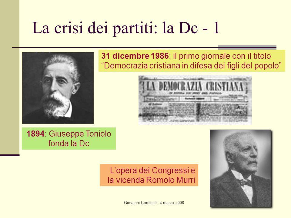 Giovanni Cominelli, 4 marzo 2008 La crisi dei partiti: la Dc - 1 31 dicembre 1986: il primo giornale con il titolo Democrazia cristiana in difesa dei