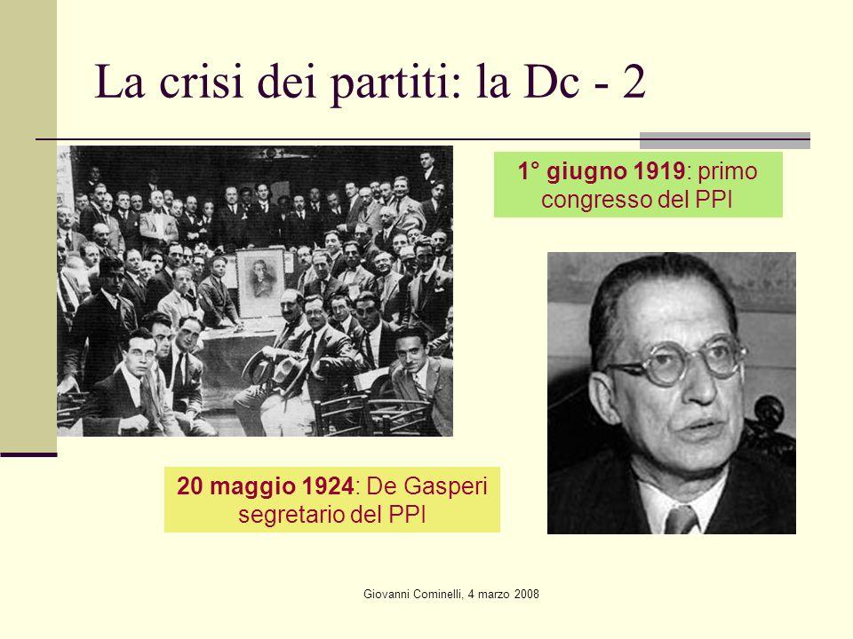 Giovanni Cominelli, 4 marzo 2008 La crisi dei partiti: la Dc - 2 20 maggio 1924: De Gasperi segretario del PPI 1° giugno 1919: primo congresso del PPI