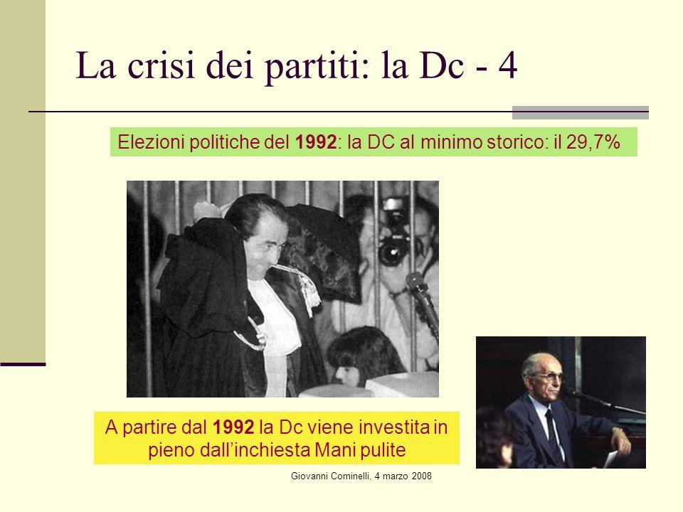 Giovanni Cominelli, 4 marzo 2008 La crisi dei partiti: la Dc - 4 Elezioni politiche del 1992: la DC al minimo storico: il 29,7% A partire dal 1992 la Dc viene investita in pieno dallinchiesta Mani pulite