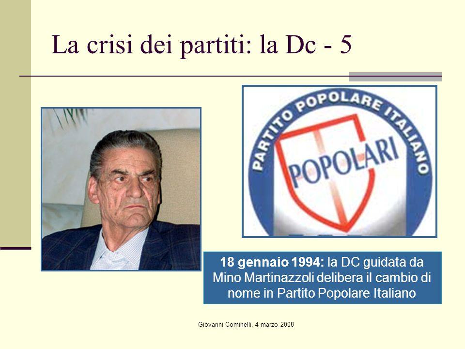 Giovanni Cominelli, 4 marzo 2008 La crisi dei partiti: la Dc - 5 18 gennaio 1994: la DC guidata da Mino Martinazzoli delibera il cambio di nome in Partito Popolare Italiano