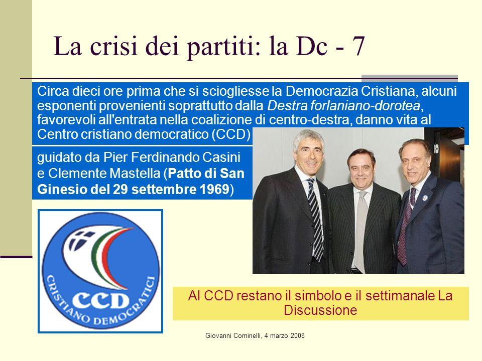 Giovanni Cominelli, 4 marzo 2008 La crisi dei partiti: la Dc - 7 Circa dieci ore prima che si sciogliesse la Democrazia Cristiana, alcuni esponenti pr