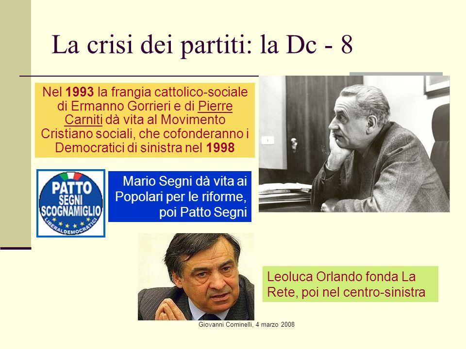 Giovanni Cominelli, 4 marzo 2008 La crisi dei partiti: la Dc - 8 Nel 1993 la frangia cattolico-sociale di Ermanno Gorrieri e di Pierre Carniti dà vita