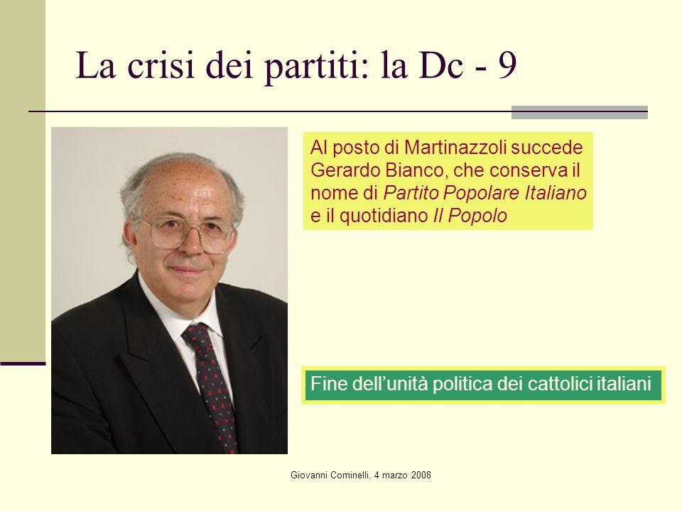 Giovanni Cominelli, 4 marzo 2008 La crisi dei partiti: la Dc - 9 Al posto di Martinazzoli succede Gerardo Bianco, che conserva il nome di Partito Popo
