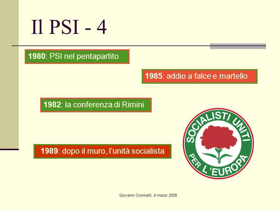 Giovanni Cominelli, 4 marzo 2008 Il PSI - 4 1982: la conferenza di Rimini 1980: PSI nel pentapartito 1985: addio a falce e martello 1989: dopo il muro, lunità socialista