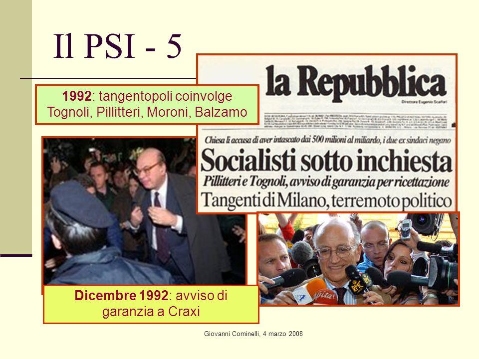 Giovanni Cominelli, 4 marzo 2008 Il PSI - 5 1992: tangentopoli coinvolge Tognoli, Pillitteri, Moroni, Balzamo Dicembre 1992: avviso di garanzia a Crax