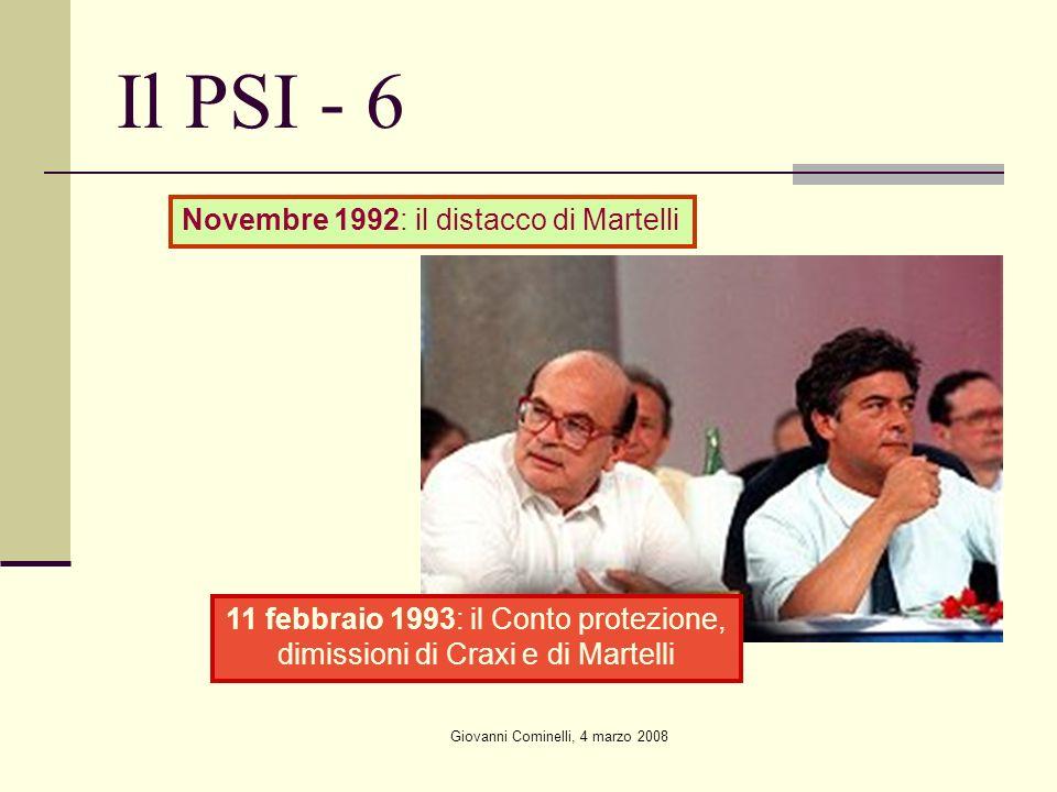 Giovanni Cominelli, 4 marzo 2008 Il PSI - 6 11 febbraio 1993: il Conto protezione, dimissioni di Craxi e di Martelli Novembre 1992: il distacco di Martelli