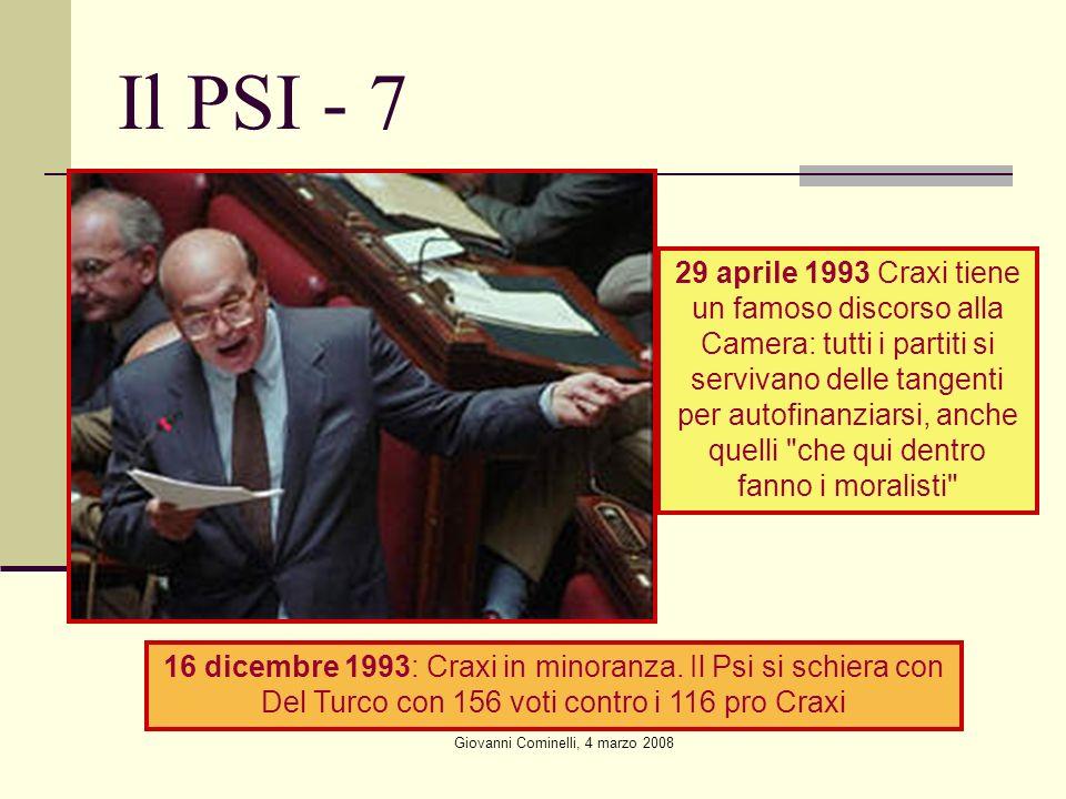 Giovanni Cominelli, 4 marzo 2008 Il PSI - 7 29 aprile 1993 Craxi tiene un famoso discorso alla Camera: tutti i partiti si servivano delle tangenti per autofinanziarsi, anche quelli che qui dentro fanno i moralisti 16 dicembre 1993: Craxi in minoranza.