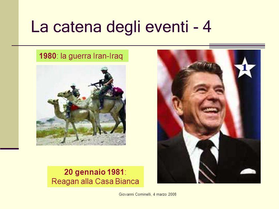 Giovanni Cominelli, 4 marzo 2008 La catena degli eventi - 4 1980: la guerra Iran-Iraq 20 gennaio 1981: Reagan alla Casa Bianca