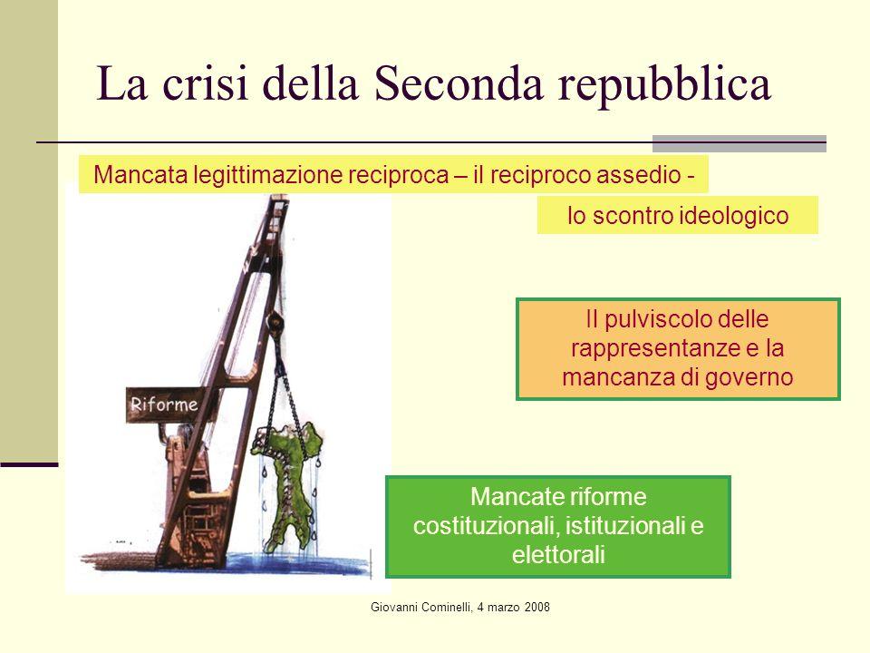 Giovanni Cominelli, 4 marzo 2008 La crisi della Seconda repubblica Mancate riforme costituzionali, istituzionali e elettorali Mancata legittimazione r