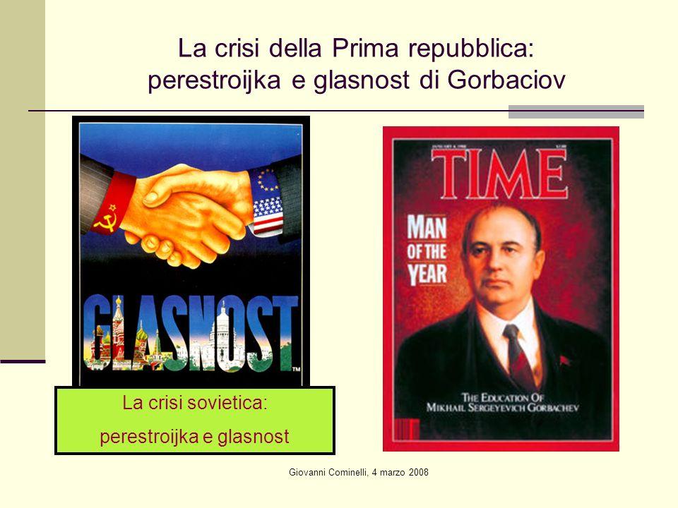 Giovanni Cominelli, 4 marzo 2008 La crisi della Prima repubblica: perestroijka e glasnost di Gorbaciov La crisi sovietica: perestroijka e glasnost