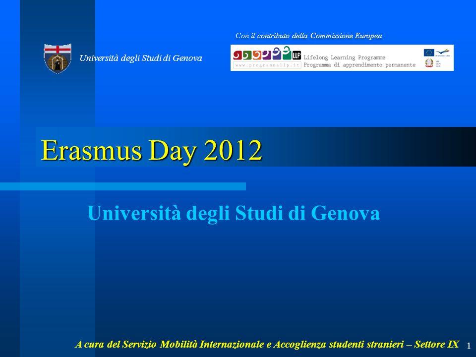 Erasmus Day 2012 Università degli Studi di Genova Con il contributo della Commissione Europea Università degli Studi di Genova 1 A cura del Servizio Mobilità Internazionale e Accoglienza studenti stranieri – Settore IX