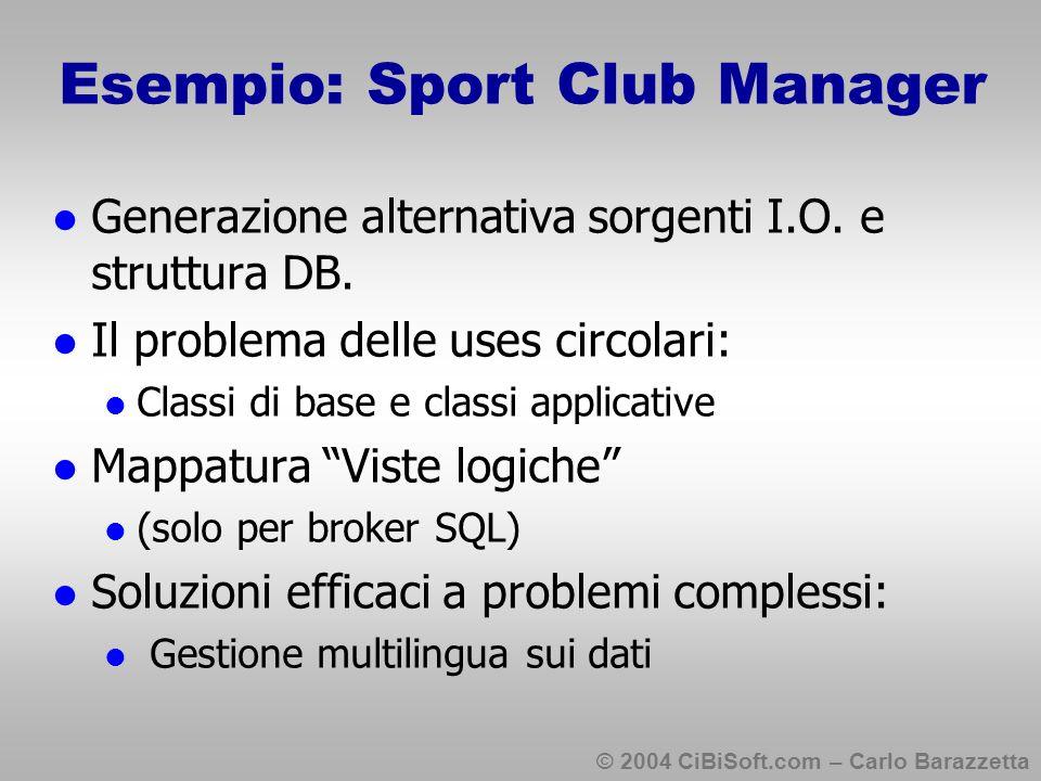© 2004 CiBiSoft.com – Carlo Barazzetta Esempio: Sport Club Manager Generazione alternativa sorgenti I.O.