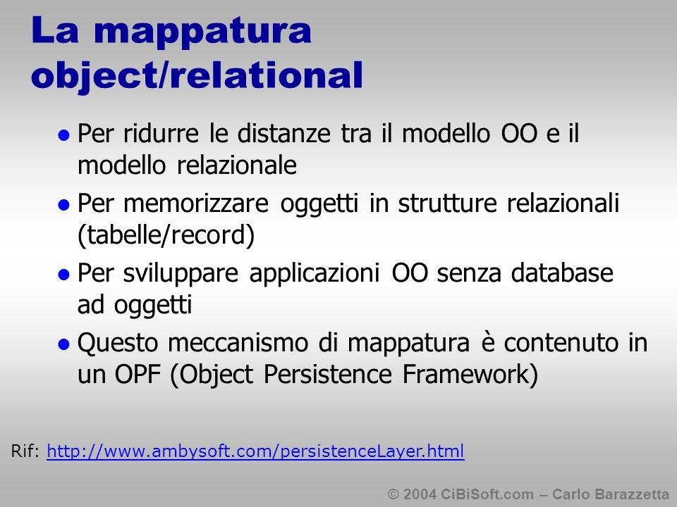 © 2004 CiBiSoft.com – Carlo Barazzetta La mappatura object/relational Per ridurre le distanze tra il modello OO e il modello relazionale Per memorizzare oggetti in strutture relazionali (tabelle/record) Per sviluppare applicazioni OO senza database ad oggetti Questo meccanismo di mappatura è contenuto in un OPF (Object Persistence Framework) Rif: http://www.ambysoft.com/persistenceLayer.html