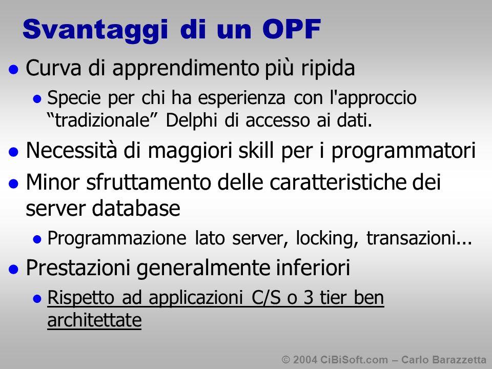 © 2004 CiBiSoft.com – Carlo Barazzetta Svantaggi di un OPF Curva di apprendimento più ripida Specie per chi ha esperienza con l approccio tradizionale Delphi di accesso ai dati.